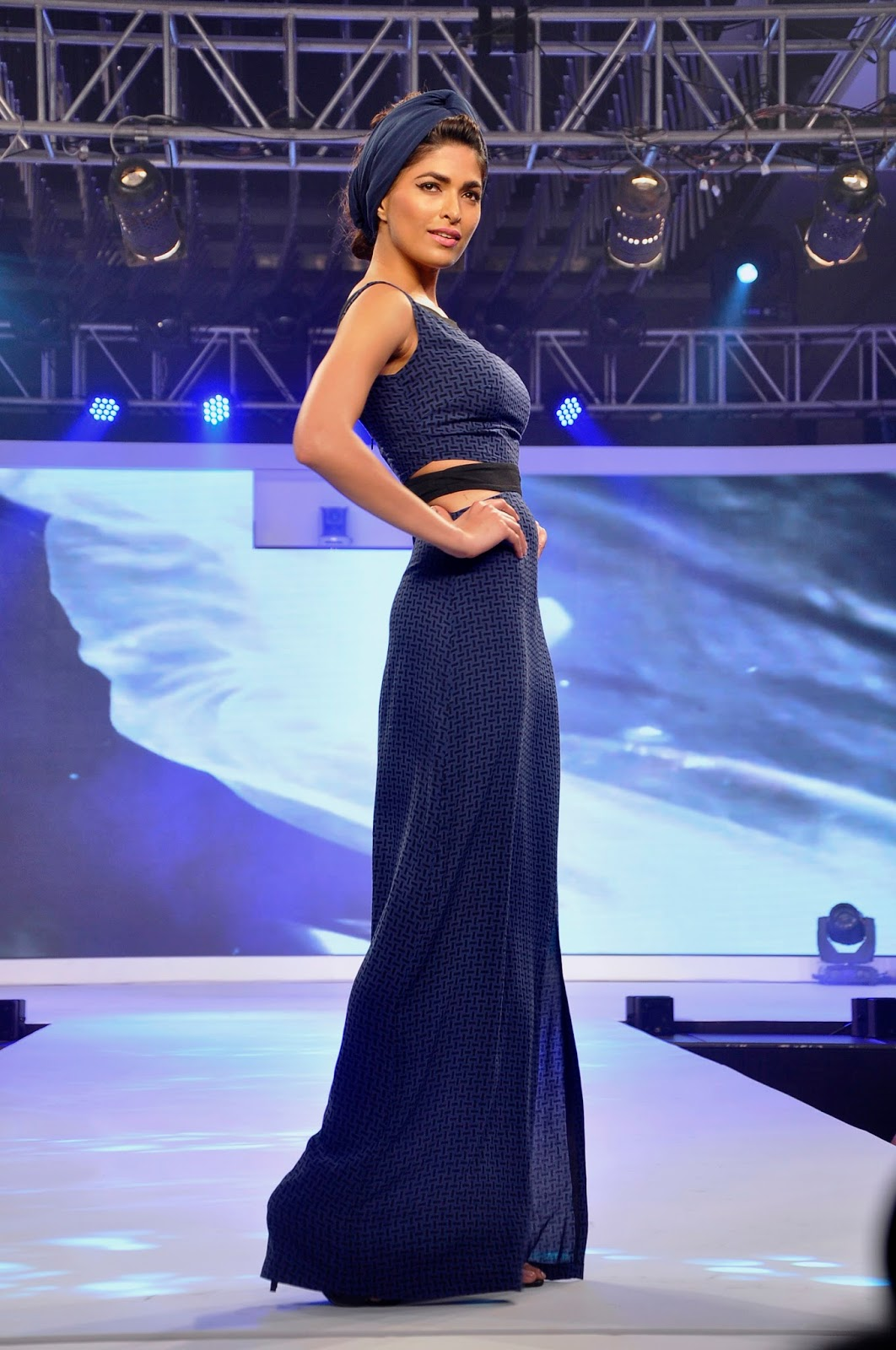 Model walking the ramp at the launch of LIVA1